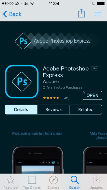 App zum Pickel retuschieren Photoshop Express